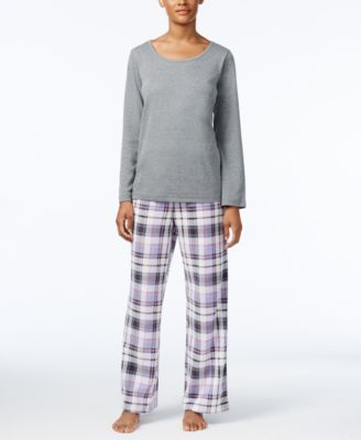Image of Charter Club Fleece Scoop-Neck Top and Printed Pants Pajama Set, Only at Macy's