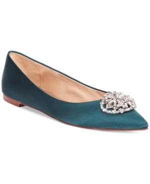 Badgley Mischka Davis Embellished Pointed Toe Evening Flats Women's Shoes