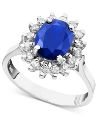 14k White Gold Sapphire (2 ct. t.w.) & Diamond (1/2 ct. t.w.) Ladi Di Ring