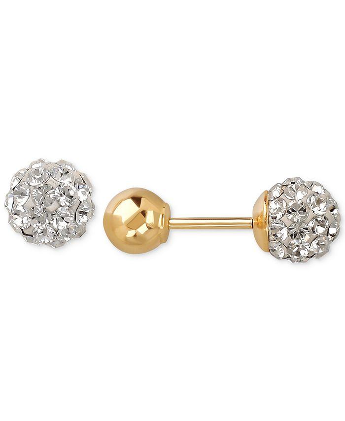 Macy's - Children's Crystal Fireball and Gold Ball Reversible Stud Earrings in 14k Gold
