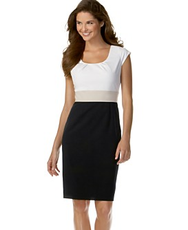 Macy*s -   Women's - 								Calvin Klein Cap-Sleeve Tricolor Dress :  dress business calvin klein macys