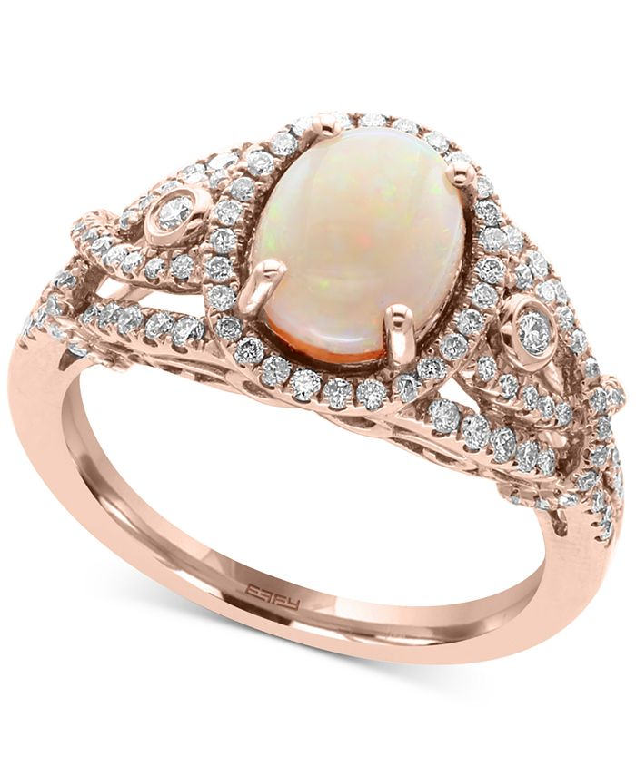EFFY Collection - Opal (1 ct. t.w.) and Diamond (1/2 ct. t.w.) Ring in 14k Rose Gold