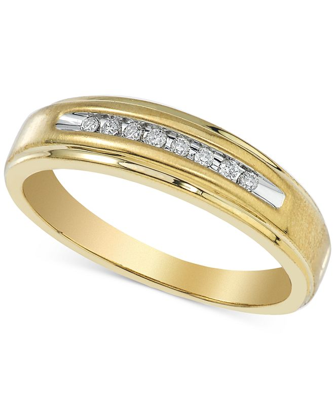 Macy's Men's Diamond Band (1/10 ct. t.w.) in 10k Gold