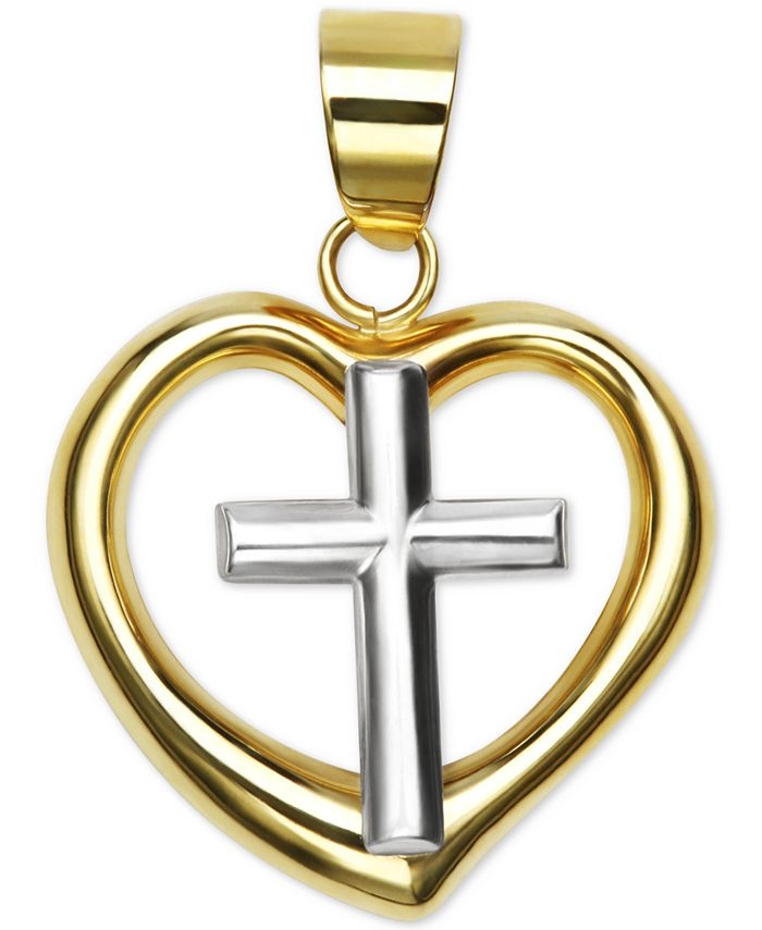 Macy's - Polished Two-Tone Heart Cross Pendant in 14k Yellow and White Gold