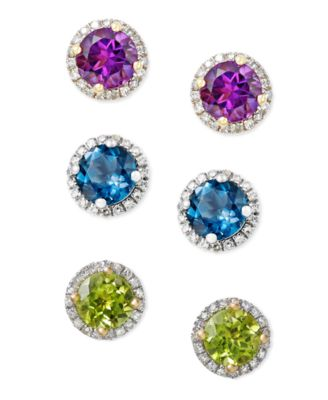Mystic Topaz (1-3/4 ct. t.w.) and Diamond (1/6 ct. t.w.) Round Stud Earrings in 14k White Gold