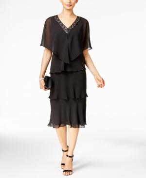 1920s Formal Dresses Guide Sl Fashions Tiered V-Neck Dress and Embellished Cape $119.00 AT vintagedancer.com