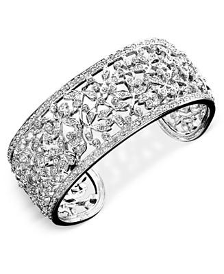Eliot Danori Crystal Accent Floral Cuff Bracelet - Bracelets Fashion Jewelry - Jewelry & Watches  - Macy's