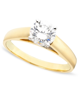 14k Gold Certified Round-Cut Diamond Solitaire Ring (1 ct. t.w.)