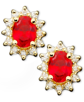 14k Gold Ruby (2 ct. t.w.) & Diamond (1/2 ct. t.w.) Lady Di Earrings