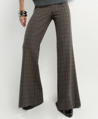Kensie Shadow Plaid Wide-Leg Pants