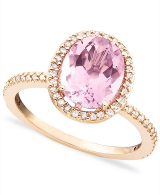 14k Rose Gold Pink Amethyst (2 ct. t.w.) & Diamond (1/4 ct. t.w.) Lady Di Ring