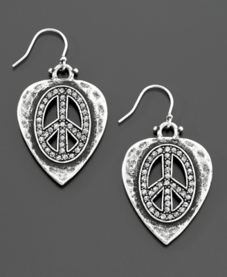 Lucky Brand Guitar Pick Peace Earrings