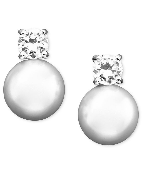 Lauren Ralph Lauren Glass Pearl & Cubic Zirconia Stud Earrings (10 mm)