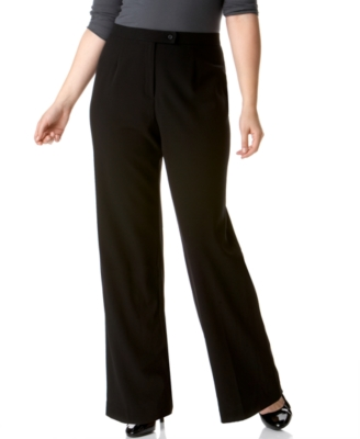 JM Collection Plus Size Pants, Extended Tab Straight Leg