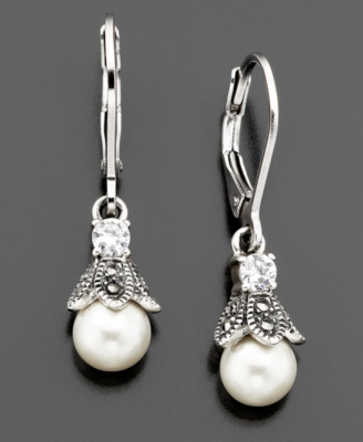 Judith Jack Sterling Silver Glass Pearl, Cubic Zirconia (1 ct. t.w.) & Marcasite Earrings