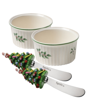 Spode Serveware, Set of 2 Christmas Tree Dip Dishes with Spreaders