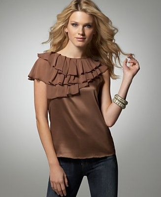 BCBGeneration Ruffled Charmeuse Top - Tops - Women's - Macy's :  neutral bronze brown nude