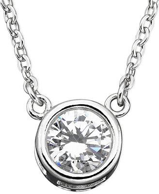 CRISLU Necklace, Platinum over Sterling Silver Cubic