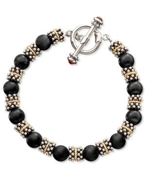 14k Gold & Sterling Silver Onyx Beaded Bracelet