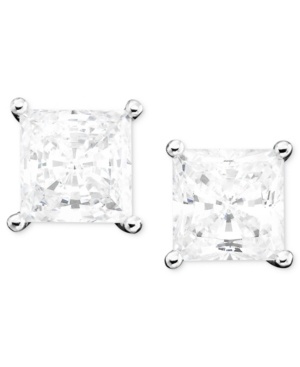 CRISLU Earrings, Platinum over Sterling Silver Cubic Zirconia Princess Cut Stud Earrings (2 ct. t.w.)