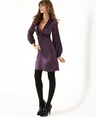 BCBGMAXAZRIA Stretch Silk Long-Sleeved Babydoll Dress - Dresses - Women's - Macy's :  silk purple bcbgmaxazria dresses