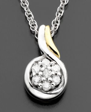 14k Gold & Sterling Silver Diamond Accent Pendant