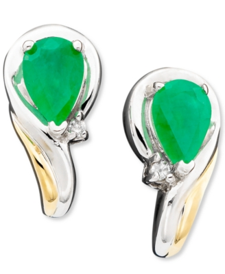 14k Gold & Sterling Silver Emerald (1-5/8 ct. t.w.) & Diamond Accent Earrings