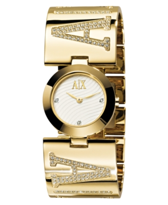 AX Armani Exchange Watch, Women's Goldtone Crystal Accented Bracelet AX4017