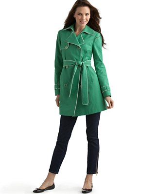 Tommy Hilfiger Shelborne Piped Trench Coat - Women's  - Macy's