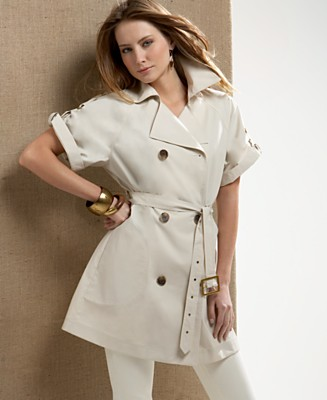 AK Anne Klein Short-Sleeve Double-Breasted Trench Coat - Coats - Women's  - Macy's from macys.com