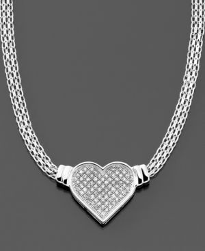 14k White Gold Diamond Heart Pendant (1/4 ct. t.w.) - Pendant Necklaces
