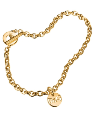 D&G Dolce & Gabbana Goldtone Logo Necklace