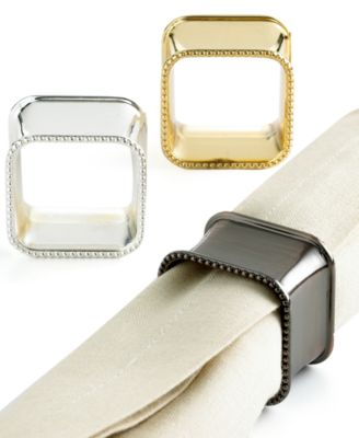 Excel Sophisticated Square Metal Napkin Rings, Set of 4