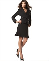 Tahari Belted Black Skirt Suit