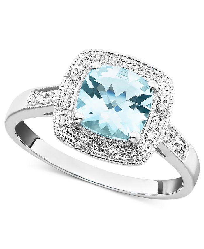 Macy's - 10k White Gold Ring, Aquamarine (1-1/3 ct. t.w.) and Diamond Accent