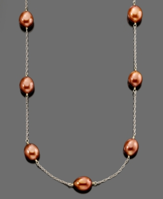 Sterling Silver Dyed Chocolate Freshwater Pearl Tin Cup Necklace (7.5-8mm)