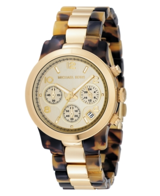 MICHAEL Michael Kors Watch, Women's Chronograph Goldtone Mixed Metal and Tortoise Acrylic Bracelet MK5138