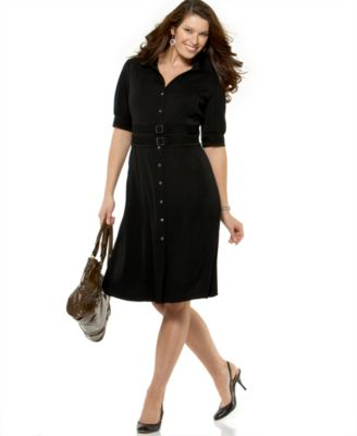 Alfani Plus Size Matte Jersey Shirtdress