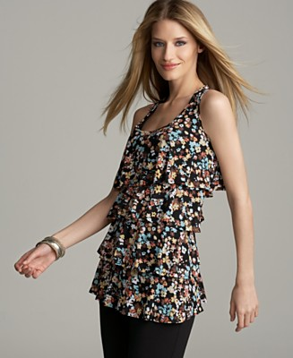 Style&co. Floral Print Tiered Ruffle Tank Top - Tops - Women's - Macy's