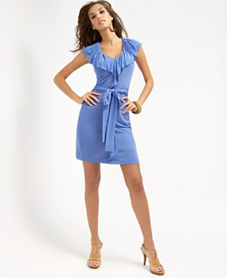 BCBGMAXAZRIA Ruffled Jersey Sleeveless Dress - Dresses - Women's - Macy's :  blue summer dresses dress dresses