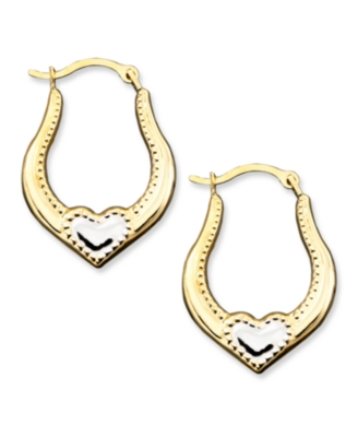 14k Two-Tone Gold Small Heart Hoop Earrings - Hoop Earrings