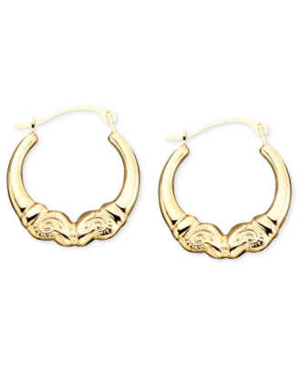 14k Gold Polished Kissing Ram Hoop Earrings