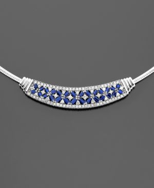 14k White Gold Sapphire (2-1/2 ct. t.w.) & Diamond (1-1/4 ct. t.w.) Necklace