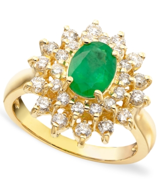 14k Gold Emerald (1-1/8 ct. t.w.) & Diamond (3/4 ct. t.w.) Ring