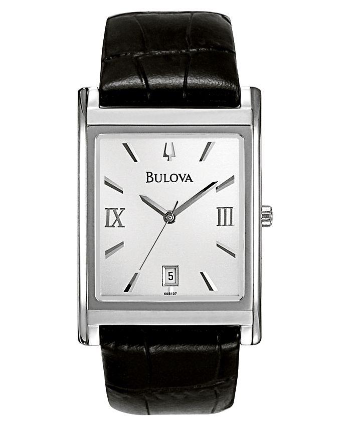Bulova - Men's Black Leather Strap Watch 45mm 96B107