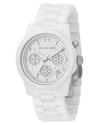Michael Kors Watch Womens Chronograph Runway White Ceramic Bracelet 38mm MK5161