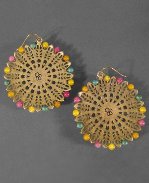 Jessica Simpson Earrings, Round Worn Goldtone