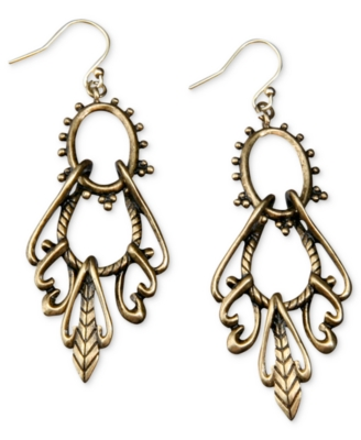 Lucky Brand Earrings, Goldtone Open Drop