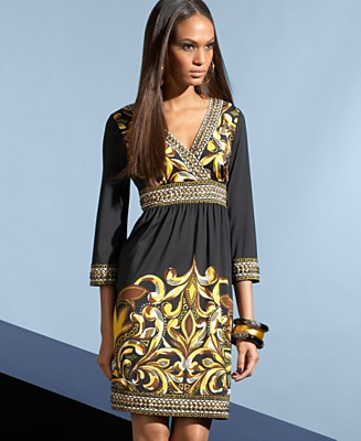 INC International Concepts Dress, Printed Empire Waist - Dresses - Women's  - Macy's :  inc international concepts dress black printed empire waist inc