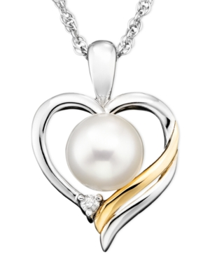 14k Gold & Sterling Silver Pendant, Pearl & Diamond Accent